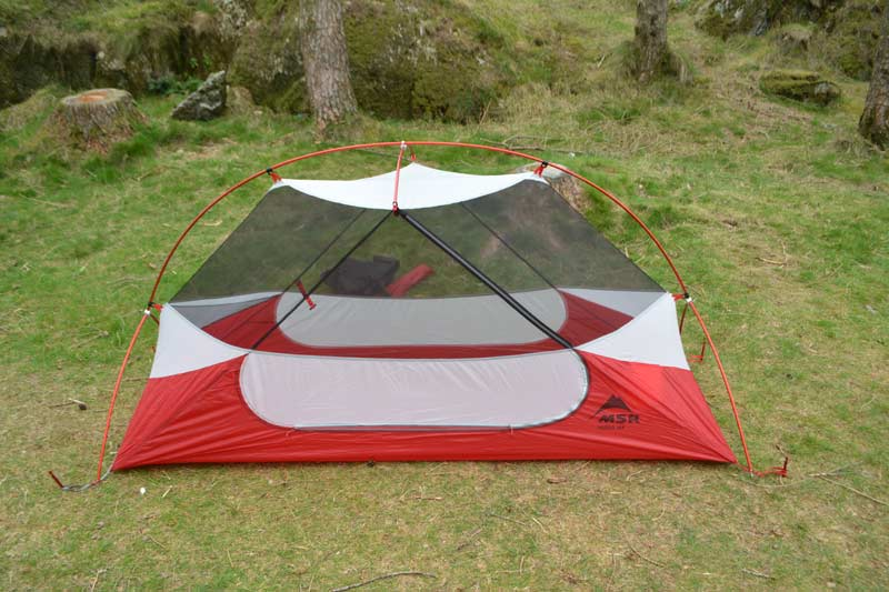 Putting the flysheet on and aligning the seams can be a pain with some tents but the Y shaped ends of the poles make it a simple job with the NX Solo ... & MSR Hubba NX Solo tested and reviewed